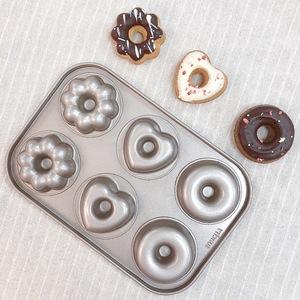 6連混花愛心甜甜圈不沾蛋糕模